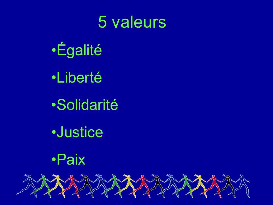 5 valeurs Égalité Liberté Solidarité Justice Paix