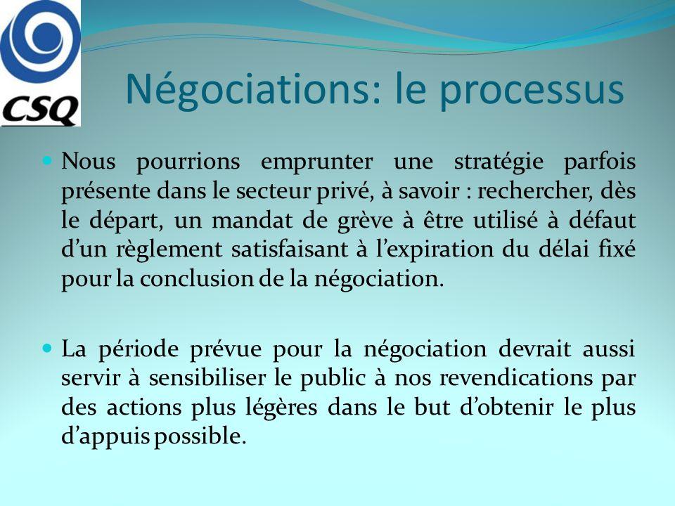 Négociations: le processus Nous pourrions emprunter une stratégie parfois présente dans le secteur privé, à savoir : rechercher, dès le départ, un mandat de grève à être utilisé à défaut dun règlement satisfaisant à lexpiration du délai fixé pour la conclusion de la négociation.