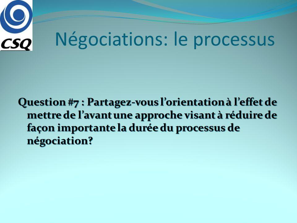 Négociations: le processus Question #7 : Partagez-vous lorientation à leffet de mettre de lavant une approche visant à réduire de façon importante la