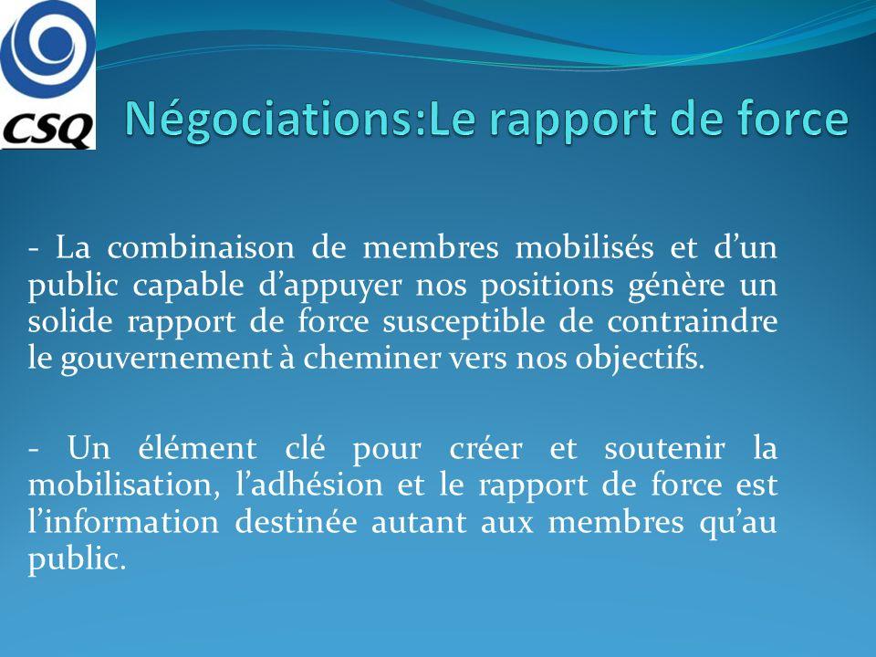 - La combinaison de membres mobilisés et dun public capable dappuyer nos positions génère un solide rapport de force susceptible de contraindre le gou