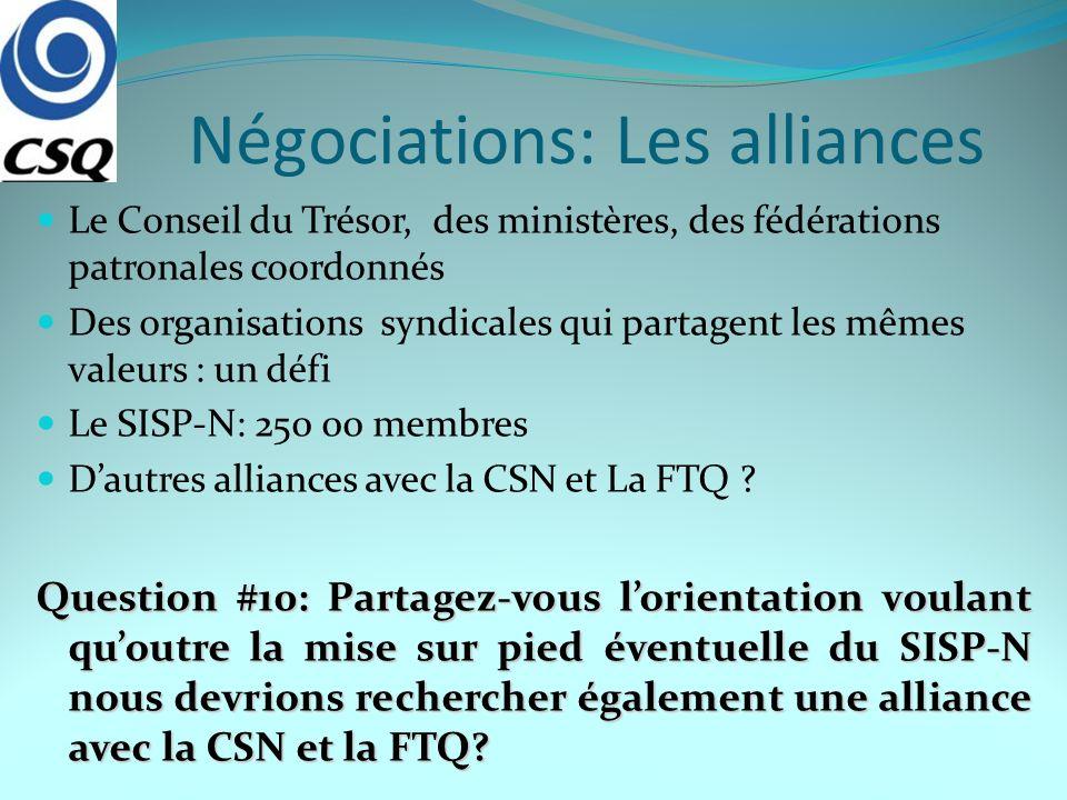 Négociations: Les alliances Le Conseil du Trésor, des ministères, des fédérations patronales coordonnés Des organisations syndicales qui partagent les