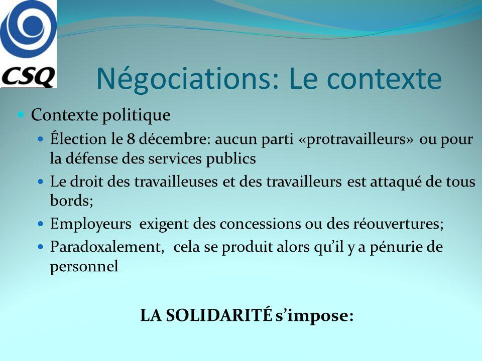 Négociations: Le contexte Contexte politique Élection le 8 décembre: aucun parti «protravailleurs» ou pour la défense des services publics Le droit de
