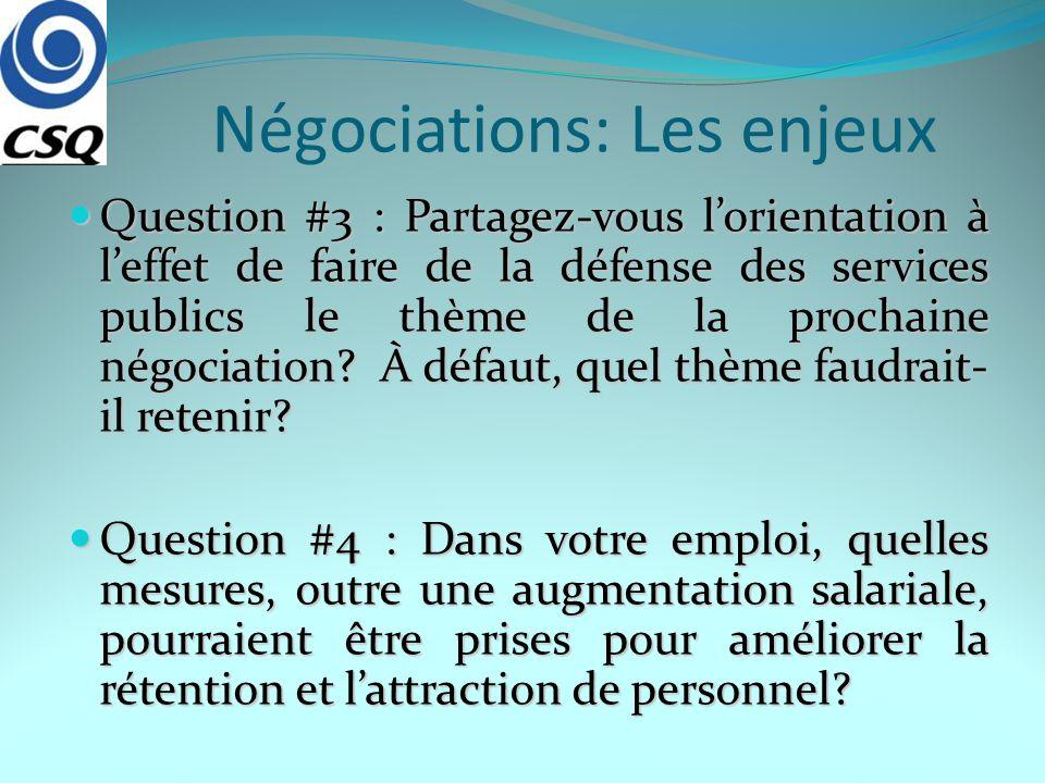 Négociations: Les enjeux Question #3 : Partagez-vous lorientation à leffet de faire de la défense des services publics le thème de la prochaine négoci