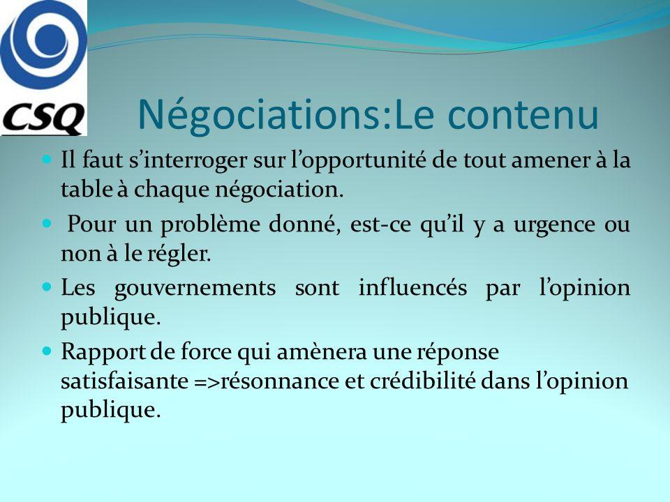 Négociations:Le contenu Il faut sinterroger sur lopportunité de tout amener à la table à chaque négociation. Pour un problème donné, est-ce quil y a u