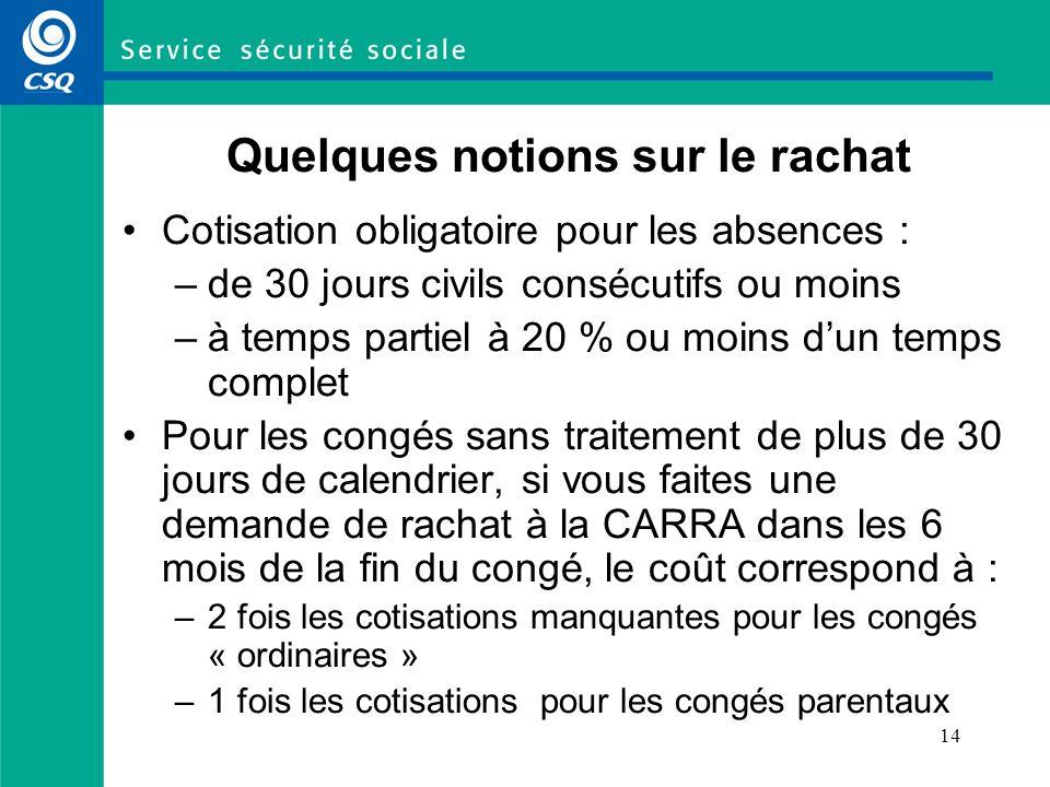 14 Quelques notions sur le rachat Cotisation obligatoire pour les absences : –de 30 jours civils consécutifs ou moins –à temps partiel à 20 % ou moins
