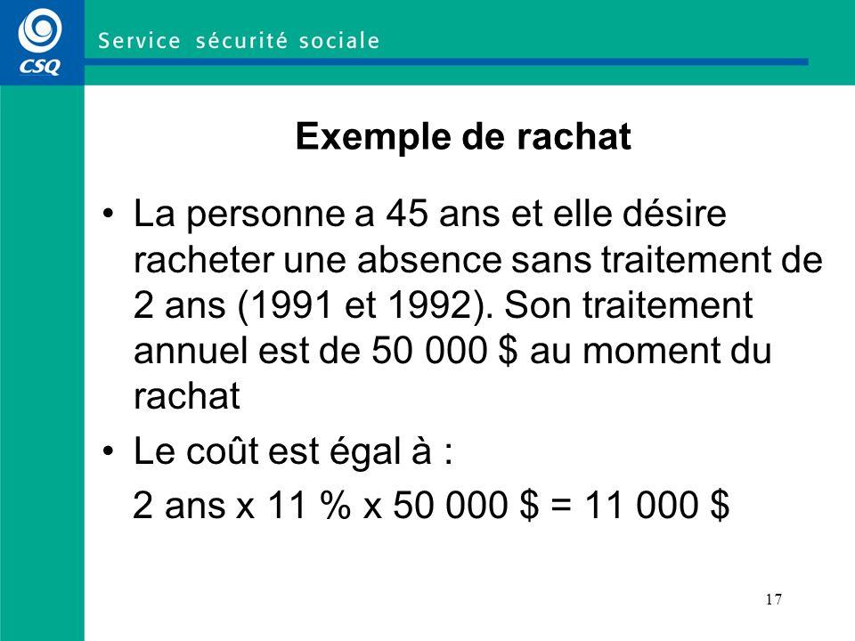 17 Exemple de rachat La personne a 45 ans et elle désire racheter une absence sans traitement de 2 ans (1991 et 1992). Son traitement annuel est de 50