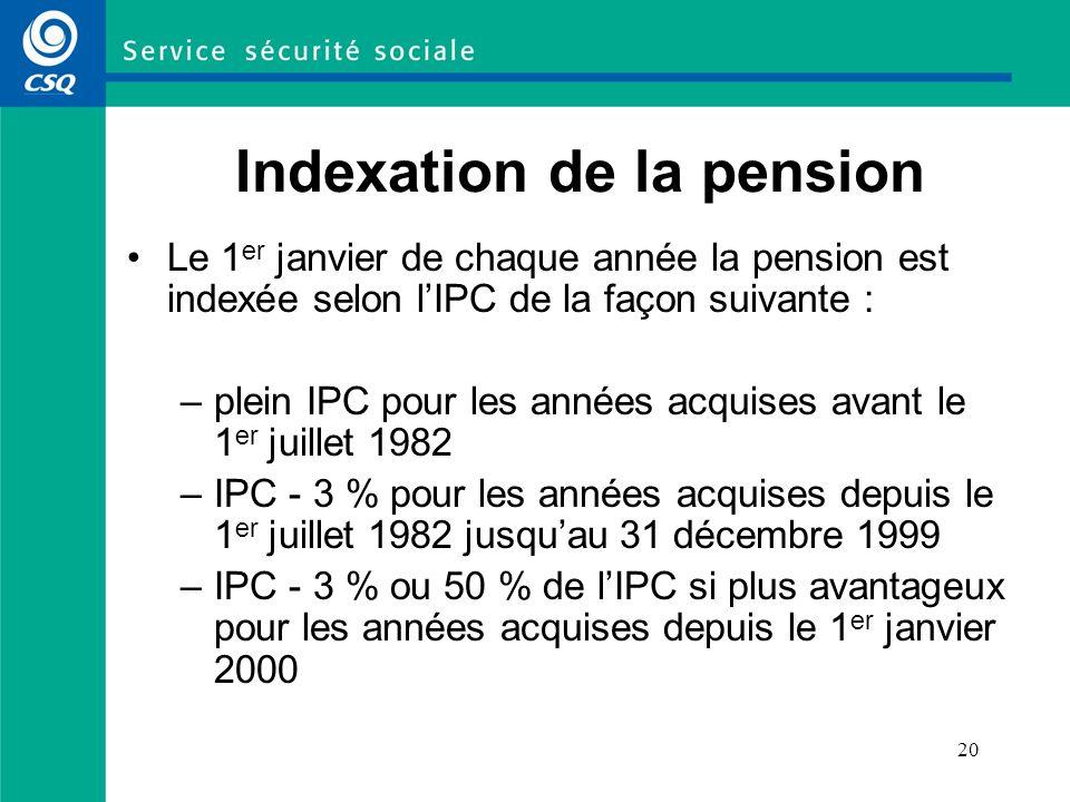 20 Indexation de la pension Le 1 er janvier de chaque année la pension est indexée selon lIPC de la façon suivante : –plein IPC pour les années acquis