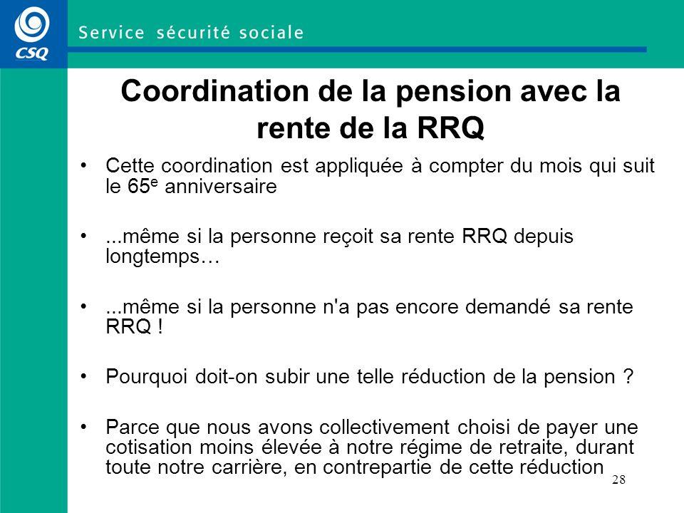28 Coordination de la pension avec la rente de la RRQ Cette coordination est appliquée à compter du mois qui suit le 65 e anniversaire...même si la pe