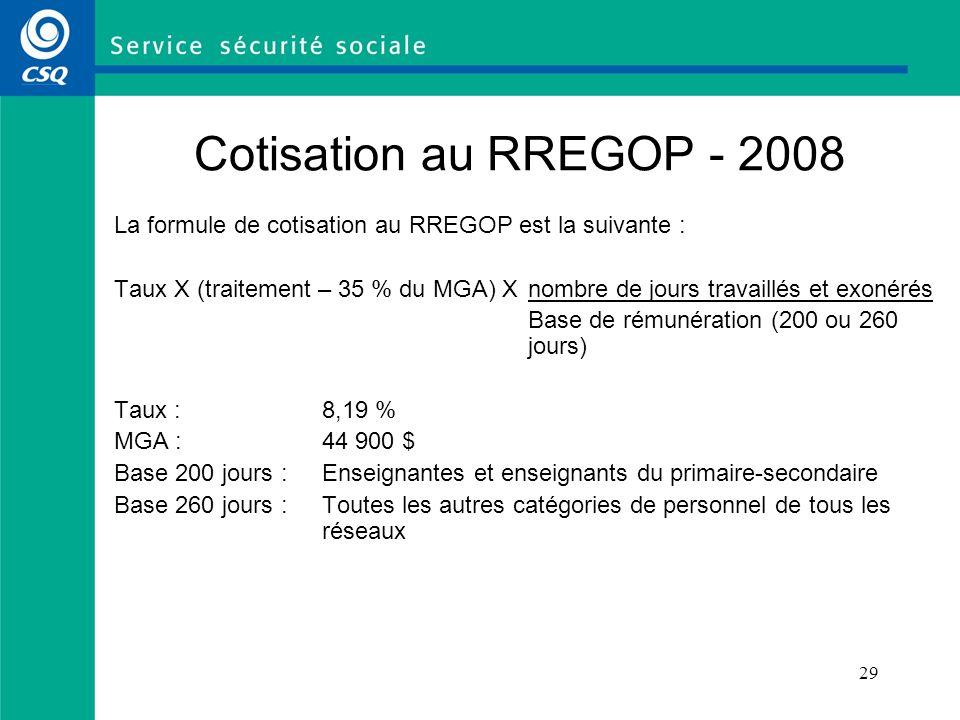 29 La formule de cotisation au RREGOP est la suivante : Taux X (traitement – 35 % du MGA) Xnombre de jours travaillés et exonérés Base de rémunération
