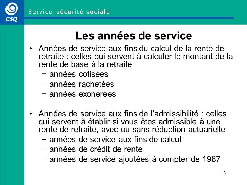 3 Les années de service Années de service aux fins du calcul de la rente de retraite : celles qui servent à calculer le montant de la rente de base à
