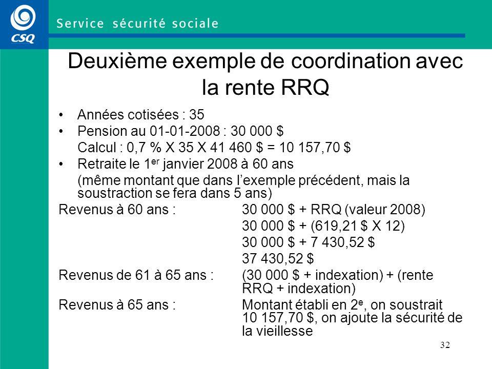 32 Deuxième exemple de coordination avec la rente RRQ Années cotisées : 35 Pension au 01-01-2008 : 30 000 $ Calcul : 0,7 % X 35 X 41 460 $ = 10 157,70