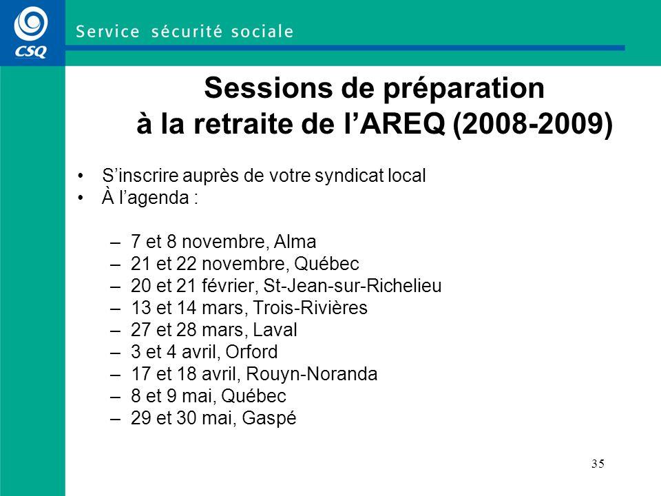 35 Sessions de préparation à la retraite de lAREQ (2008-2009) Sinscrire auprès de votre syndicat local À lagenda : –7 et 8 novembre, Alma –21 et 22 no