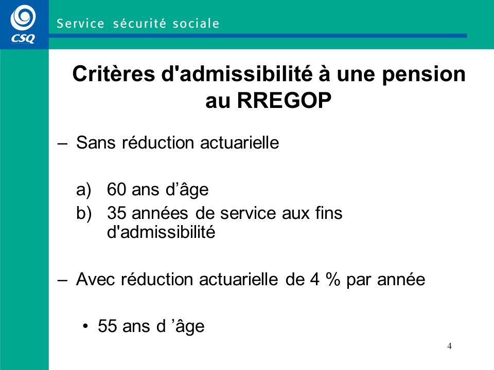 4 Critères d'admissibilité à une pension au RREGOP –Sans réduction actuarielle a) 60 ans dâge b) 35 années de service aux fins d'admissibilité –Avec r