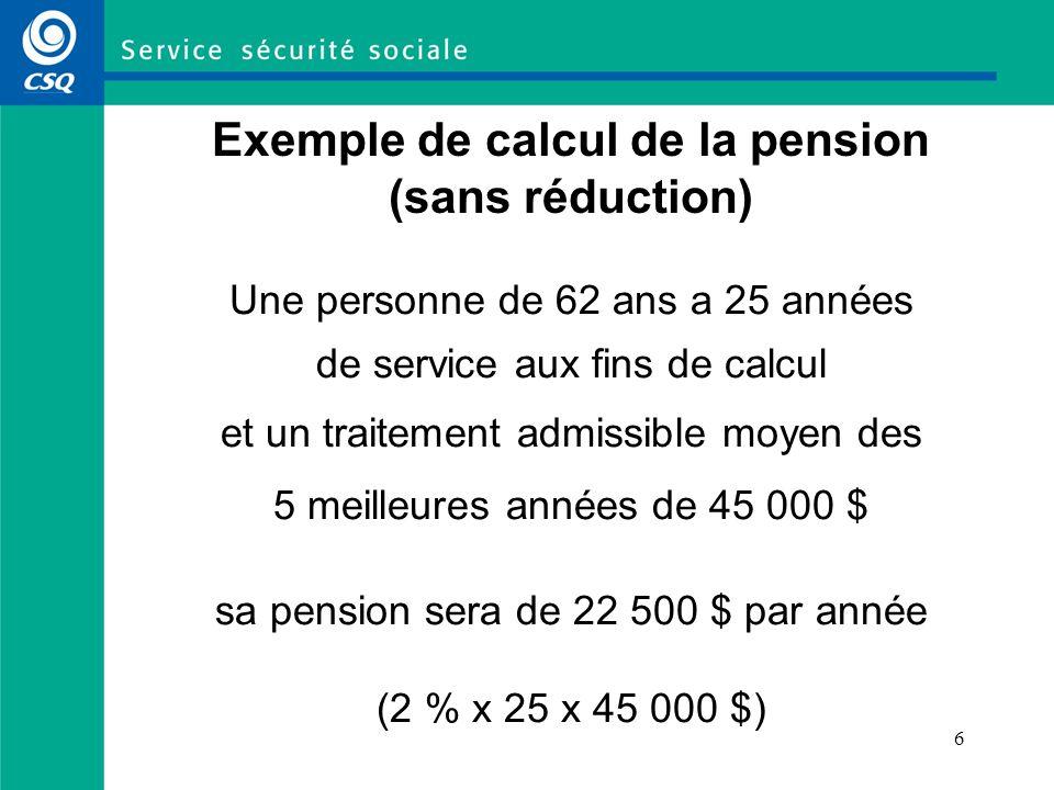 7 Exemple de calcul de la pension avec réduction actuarielle Je prends ma retraite à 56 ans avec 16 années de service aux fins de calcul ; traitement moyen : 40 000 $ Je calcule d abord ma pension comme s il n y avait pas de réduction actuarielle : 40 000 $ x 16 x 2 % = 12 800 $ Comme il m aurait fallu travailler encore 4 ans pour atteindre un premier critère sans réduction actuarielle (60 ans dâge), je dois diminuer de façon permanente le 12 800 $ de 16 % (4 ans à 4 % par année) Ma pension sera donc égale à 10 752 $ (12 800 $ - 2 048 $)