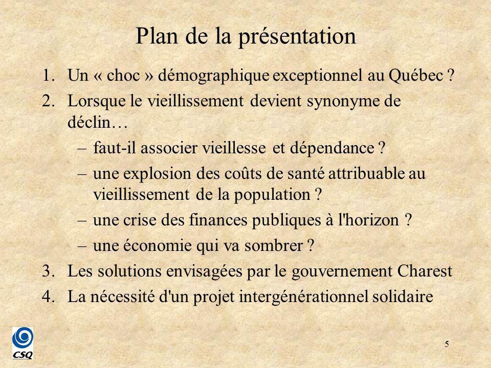 6 1.Un « choc » démographique exceptionnel au Québec .