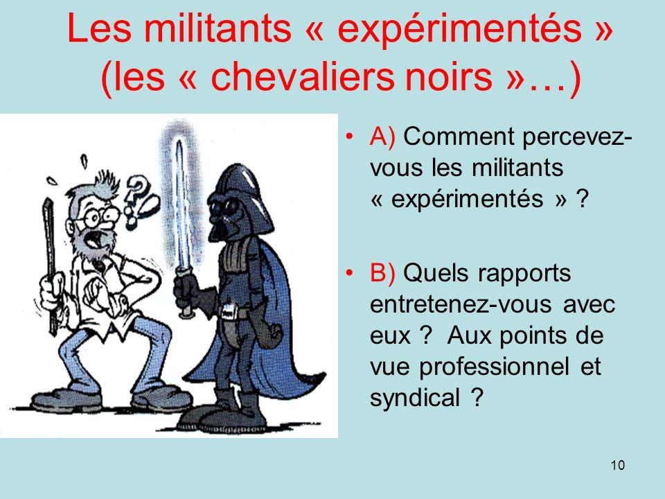 10 Les militants « expérimentés » (les « chevaliers noirs »…) A) Comment percevez- vous les militants « expérimentés » ? B) Quels rapports entretenez-