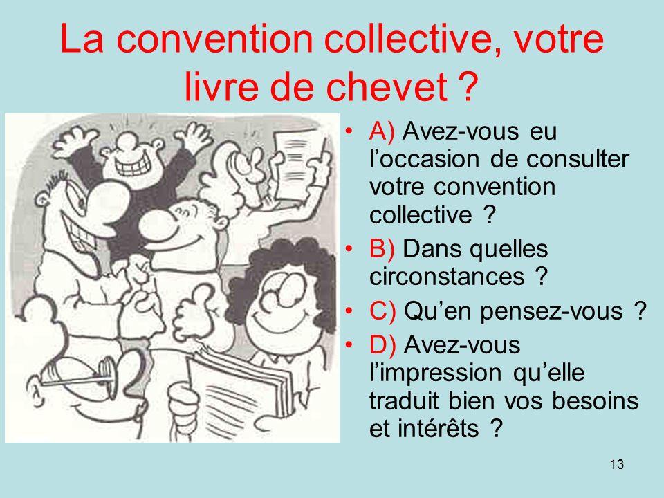 13 La convention collective, votre livre de chevet ? A) Avez-vous eu loccasion de consulter votre convention collective ? B) Dans quelles circonstance