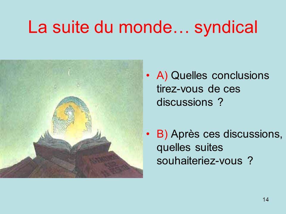 14 La suite du monde… syndical A) Quelles conclusions tirez-vous de ces discussions ? B) Après ces discussions, quelles suites souhaiteriez-vous ?