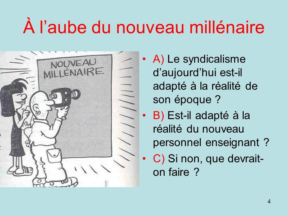 4 À laube du nouveau millénaire A) Le syndicalisme daujourdhui est-il adapté à la réalité de son époque ? B) Est-il adapté à la réalité du nouveau per