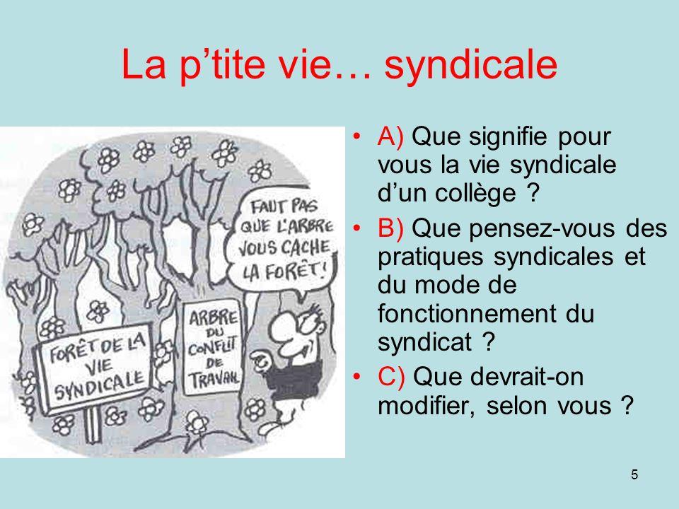 5 La ptite vie… syndicale A) Que signifie pour vous la vie syndicale dun collège ? B) Que pensez-vous des pratiques syndicales et du mode de fonctionn