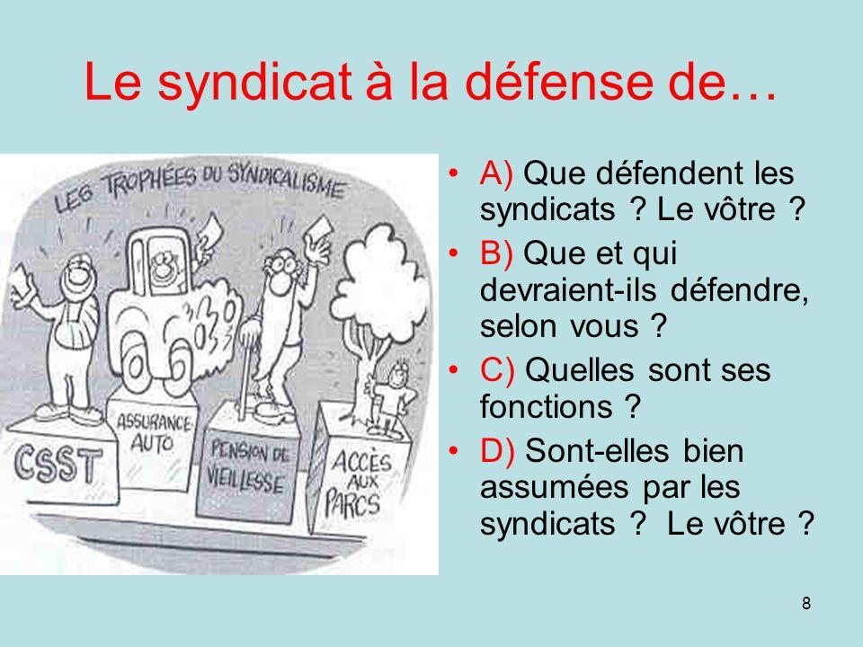 8 Le syndicat à la défense de… A) Que défendent les syndicats ? Le vôtre ? B) Que et qui devraient-ils défendre, selon vous ? C) Quelles sont ses fonc