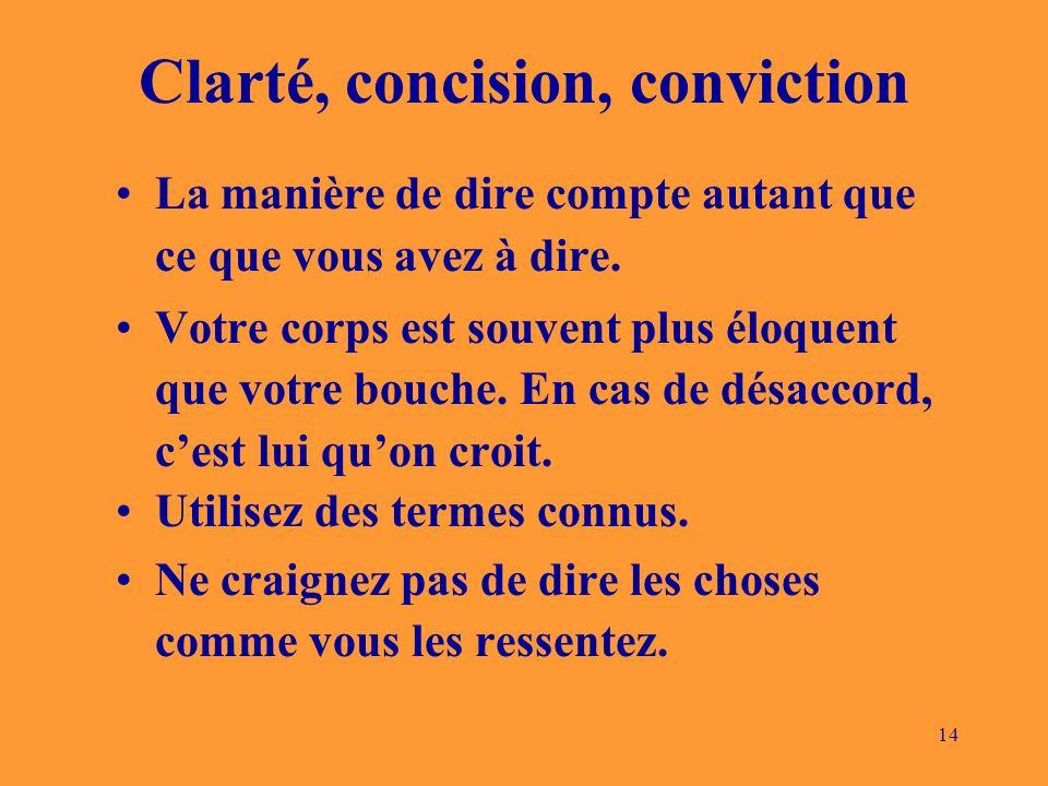 14 Clarté, concision, conviction La manière de dire compte autant que ce que vous avez à dire.