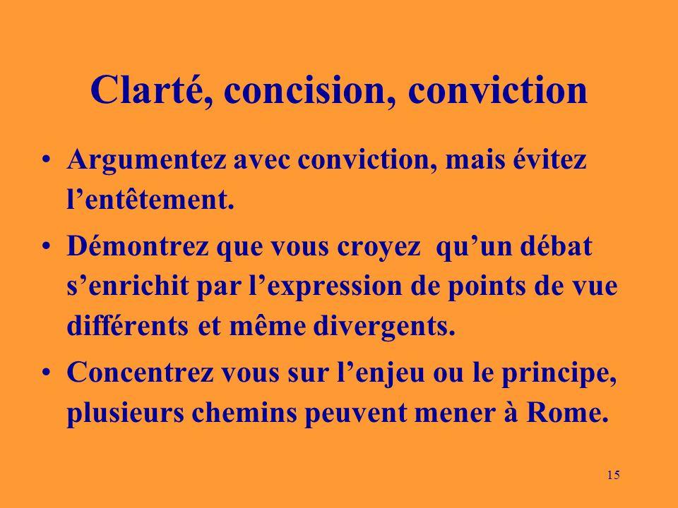 15 Clarté, concision, conviction Argumentez avec conviction, mais évitez lentêtement. Démontrez que vous croyez quun débat senrichit par lexpression d