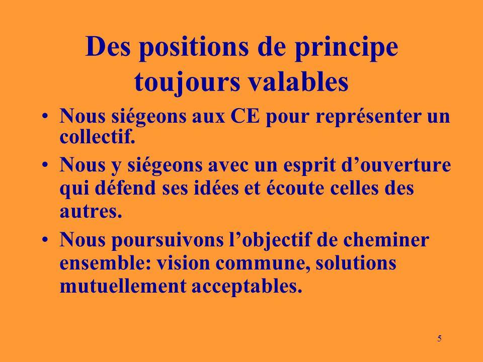 5 Des positions de principe toujours valables Nous siégeons aux CE pour représenter un collectif. Nous y siégeons avec un esprit douverture qui défend