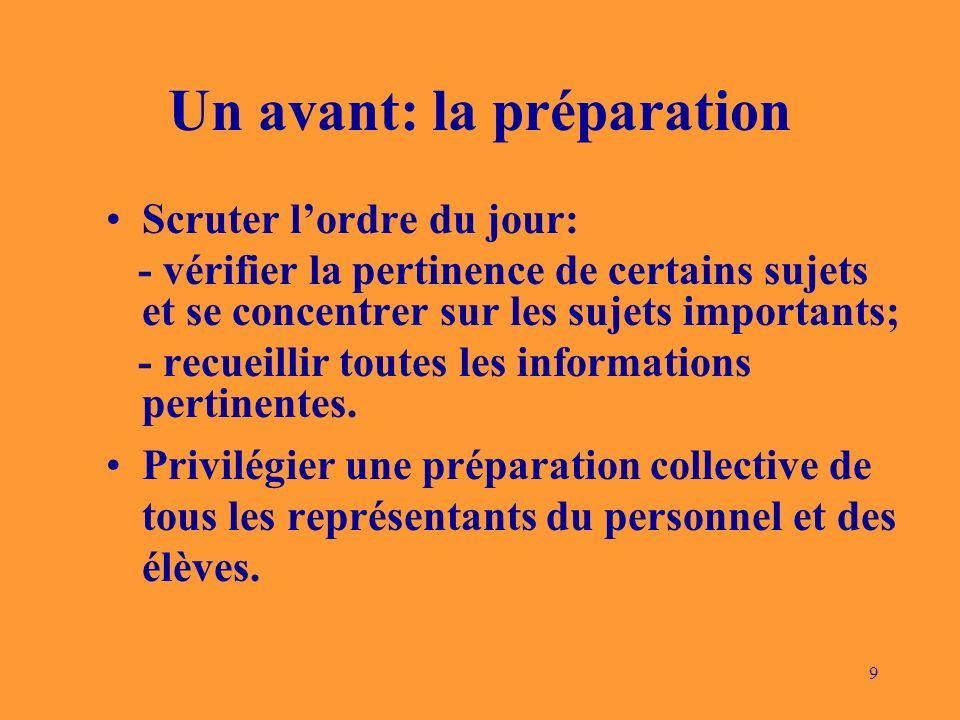 9 Un avant: la préparation Scruter lordre du jour: - vérifier la pertinence de certains sujets et se concentrer sur les sujets importants; - recueillir toutes les informations pertinentes.
