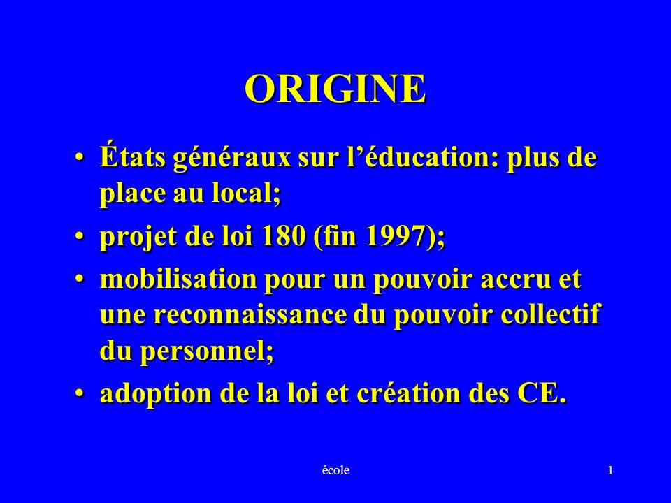 école1 ORIGINE États généraux sur léducation: plus de place au local; projet de loi 180 (fin 1997); mobilisation pour un pouvoir accru et une reconnai