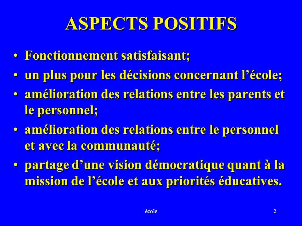 école2 ASPECTS POSITIFS Fonctionnement satisfaisant; un plus pour les décisions concernant lécole; amélioration des relations entre les parents et le