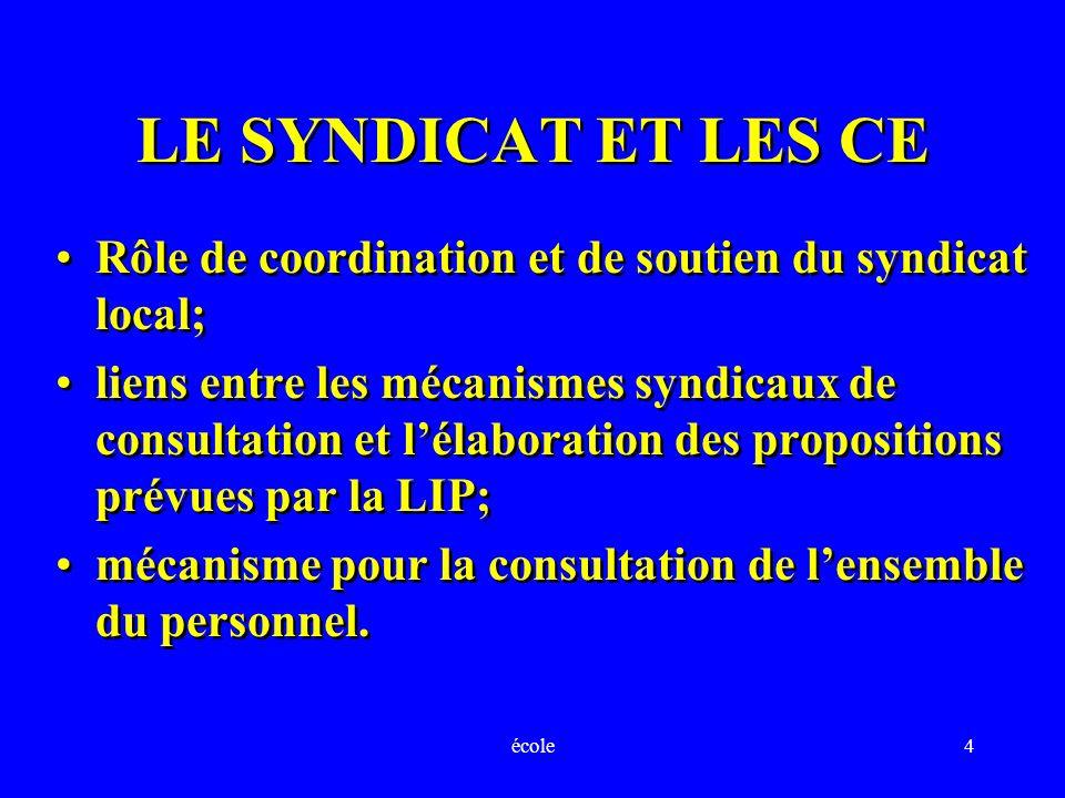école4 LE SYNDICAT ET LES CE Rôle de coordination et de soutien du syndicat local; liens entre les mécanismes syndicaux de consultation et lélaboratio