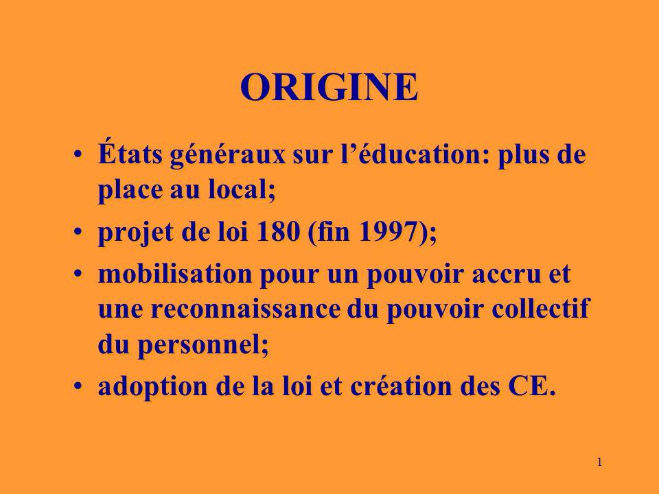 1 ORIGINE États généraux sur léducation: plus de place au local; projet de loi 180 (fin 1997); mobilisation pour un pouvoir accru et une reconnaissance du pouvoir collectif du personnel; adoption de la loi et création des CE.
