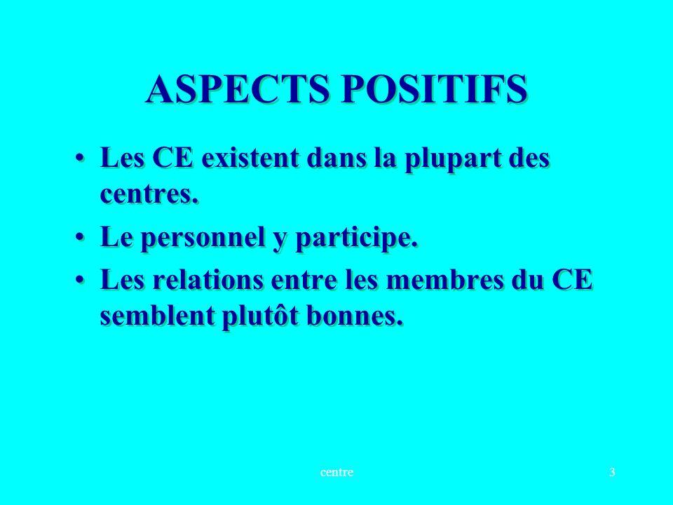 centre3 ASPECTS POSITIFS Les CE existent dans la plupart des centres.