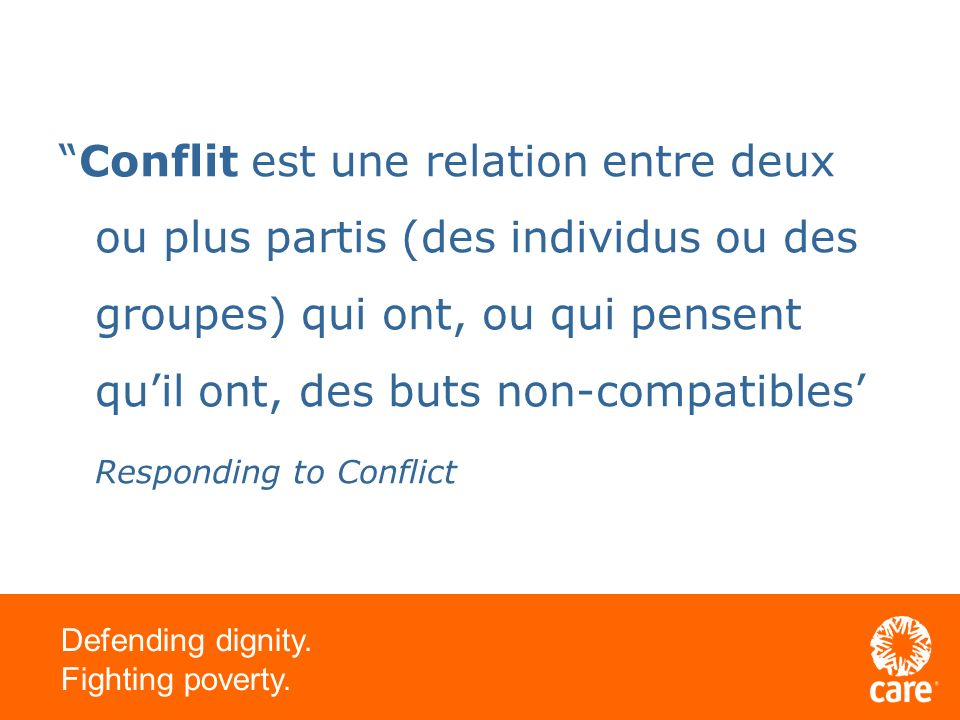 Defending dignity. Fighting poverty. La violence – cest quoi?