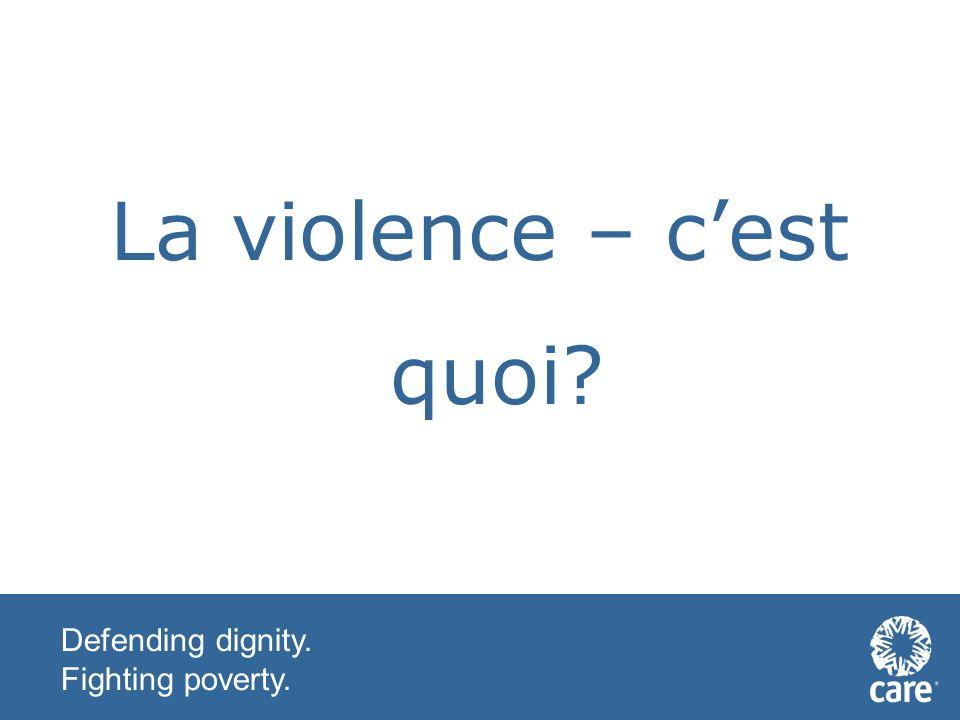 Defending dignity. Fighting poverty. Quelles sont vos definitions de paix?