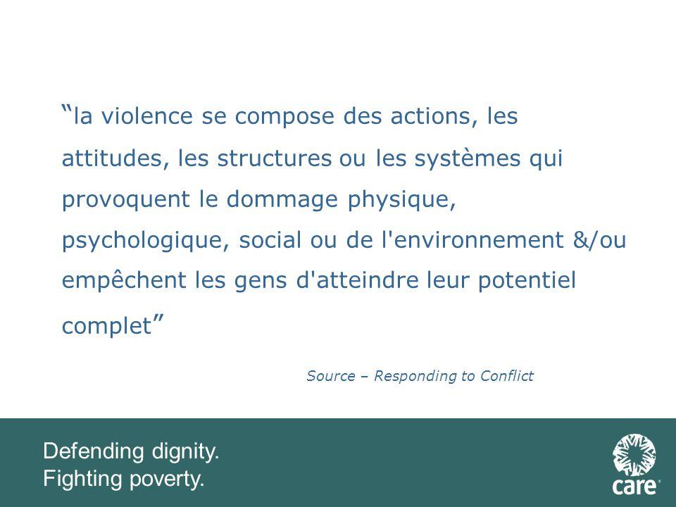 Defending dignity. Fighting poverty. La sensibilité au conflit - pourquoi?