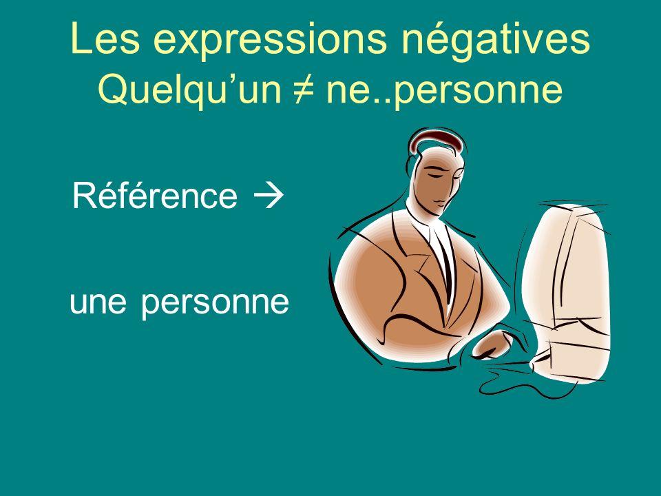 Les expressions négatives Quelquun ne..personne Référence une personne