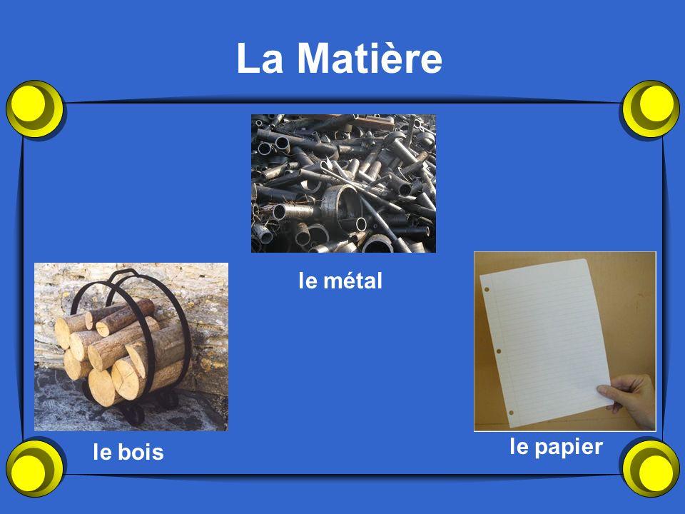 La Matière le bois le papier le métal