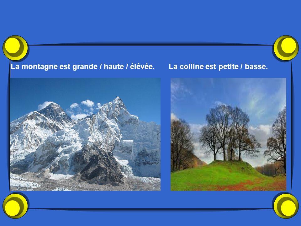 La montagne est grande / haute / élévée.La colline est petite / basse.