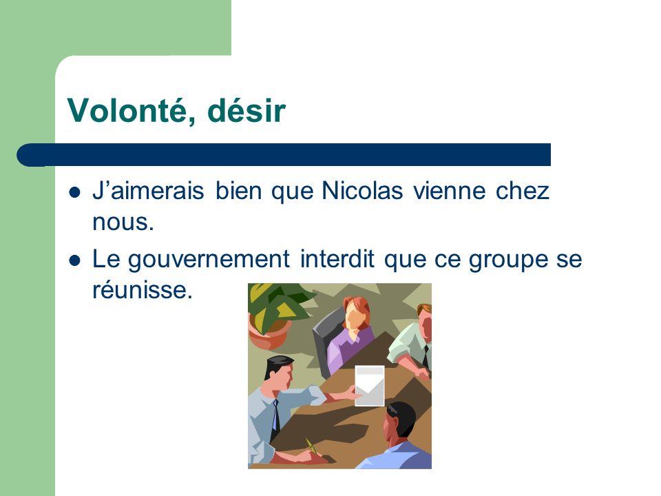 Volonté, désir Jaimerais bien que Nicolas vienne chez nous. Le gouvernement interdit que ce groupe se réunisse.