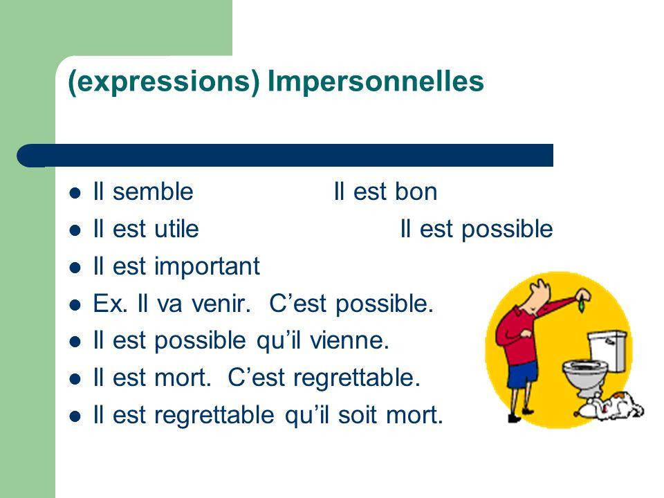 (expressions) Impersonnelles Il sembleIl est bon Il est utileIl est possible Il est important Ex. Il va venir. Cest possible. Il est possible quil vie