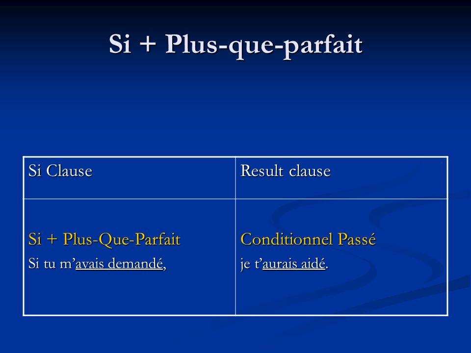 Si + Plus-que-parfait Si Clause Result clause Si + Plus-Que-Parfait Si tu mavais demandé, Conditionnel Passé je taurais aidé.