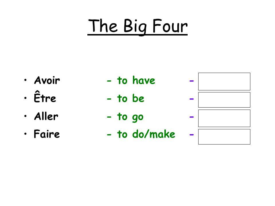 The Big Four Avoir - to have - j aurai Être - to be - je serai Aller - to go - j irai Faire - to do/make - je ferai