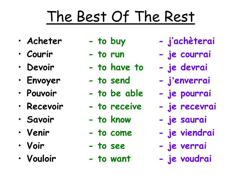 The Best Of The Rest Acheter - to buy - jachèterai Courir - to run - je courrai Devoir - to have to - je devrai Envoyer - to send - j enverrai Pouvoir
