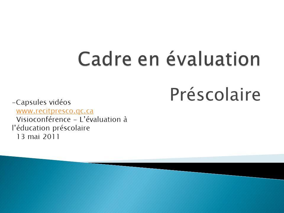 Préscolaire -Capsules vidéos www.recitpresco.qc.ca Visioconférence - Lévaluation à léducation préscolaire 13 mai 2011 www.recitpresco.qc.ca