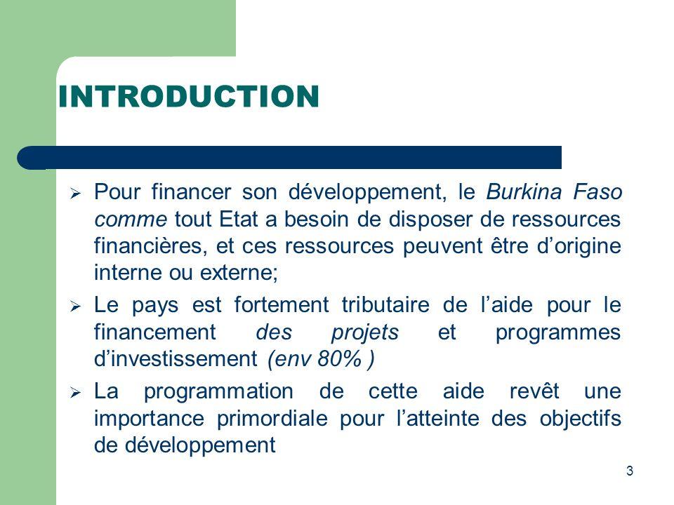 INTRODUCTION Pour financer son développement, le Burkina Faso comme tout Etat a besoin de disposer de ressources financières, et ces ressources peuven