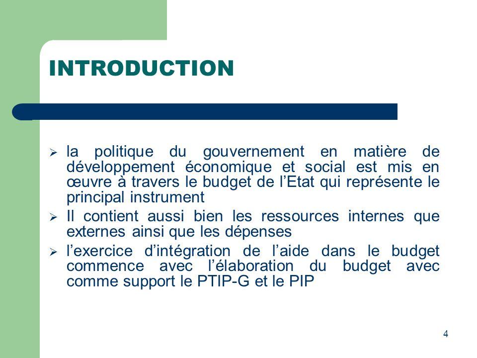 INTRODUCTION la politique du gouvernement en matière de développement économique et social est mis en œuvre à travers le budget de lEtat qui représent