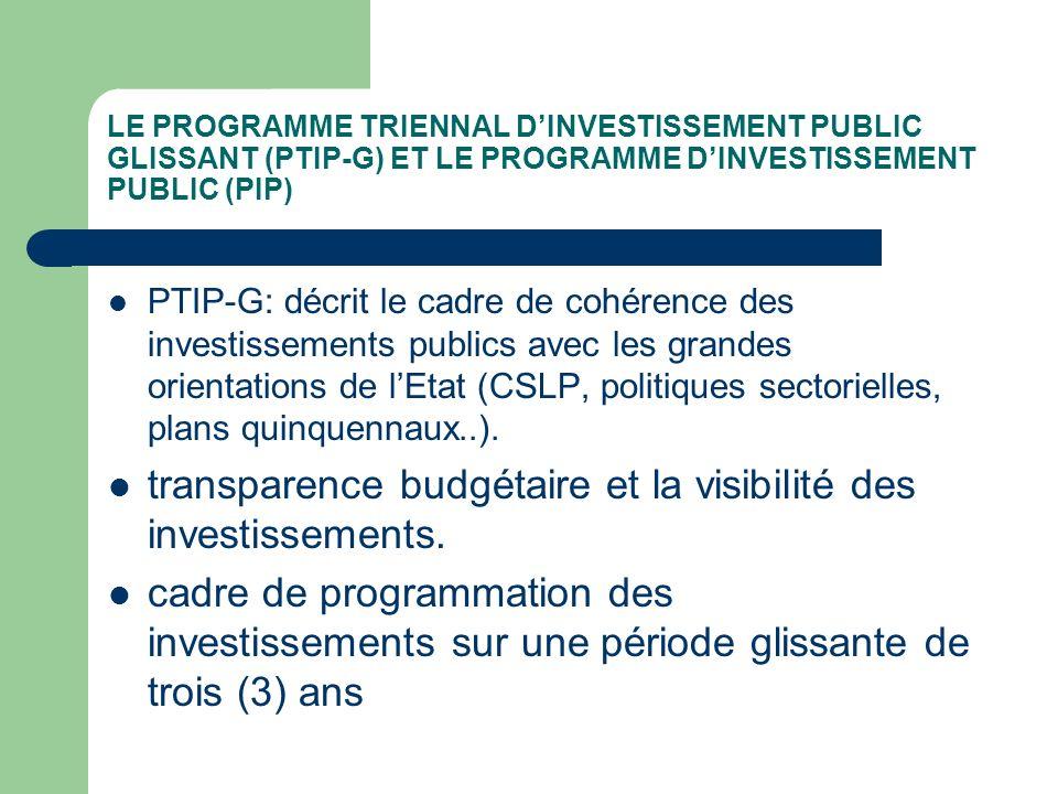 LE PROGRAMME TRIENNAL DINVESTISSEMENT PUBLIC GLISSANT (PTIP-G) ET LE PROGRAMME DINVESTISSEMENT PUBLIC (PIP) PTIP-G: décrit le cadre de cohérence des i