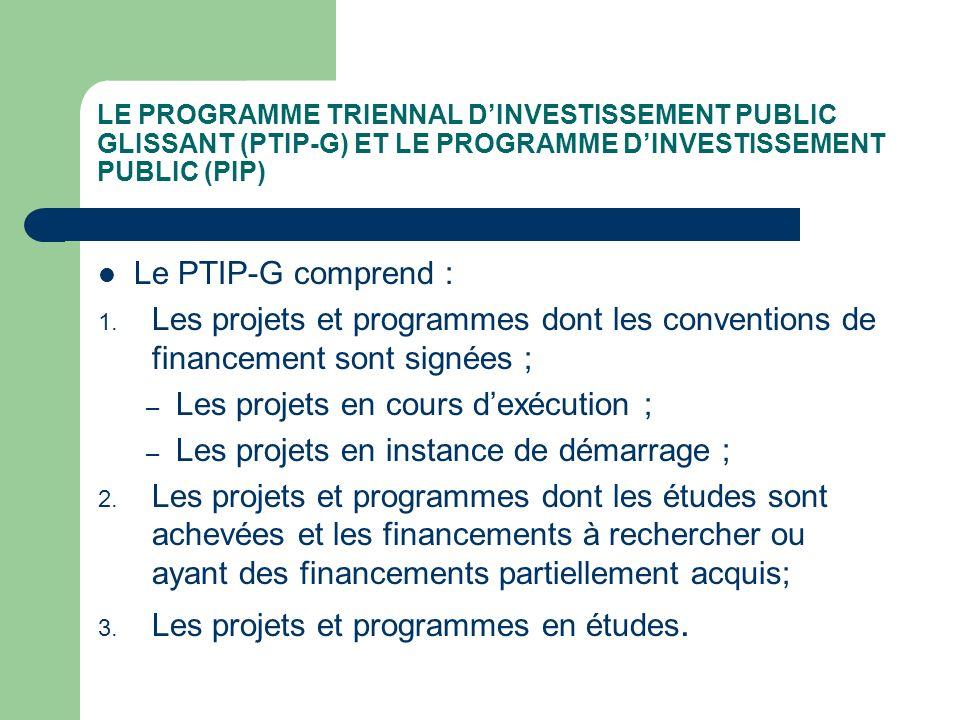 LE PROGRAMME TRIENNAL DINVESTISSEMENT PUBLIC GLISSANT (PTIP-G) Le PTIP-G est mis en œuvre à travers le Programme dinvestissement public (PIP) qui est linstrument de prévision annuelle des dépenses dinvestissement.
